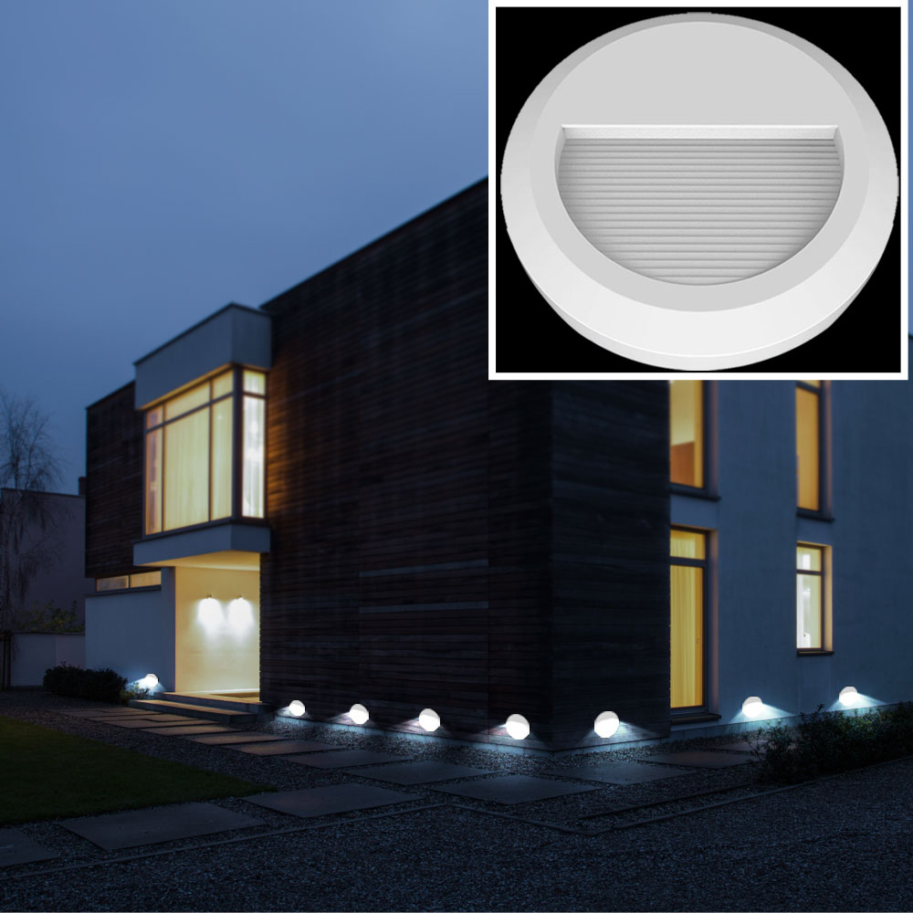 10er set led au en wand leuchten fassaden strahler garten stufen lampen balkon ebay. Black Bedroom Furniture Sets. Home Design Ideas