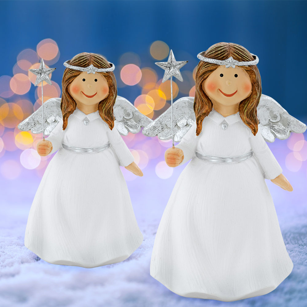Set of 2 Christmas angels with star for your winter decoration