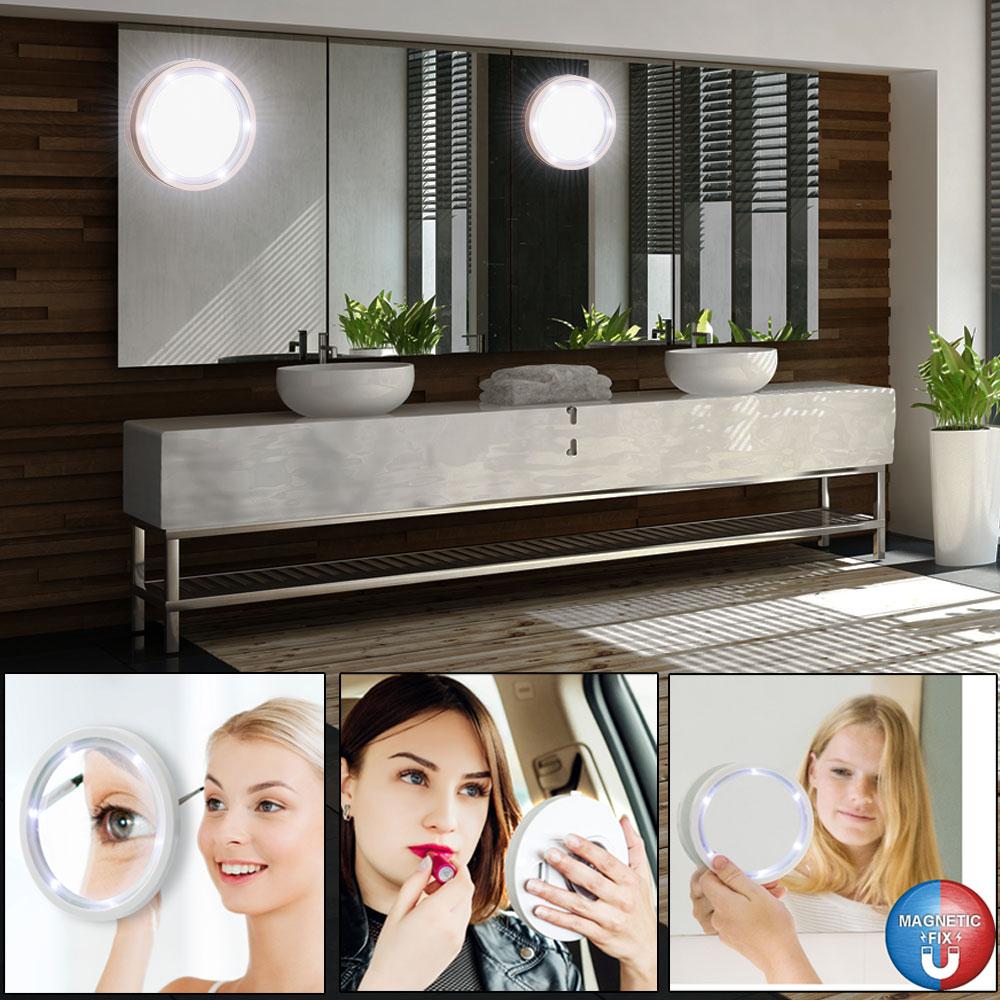 2er set schmink spiegel mit led rand f r das badezimmer unsichtbar lampen m bel innenleuchten. Black Bedroom Furniture Sets. Home Design Ideas