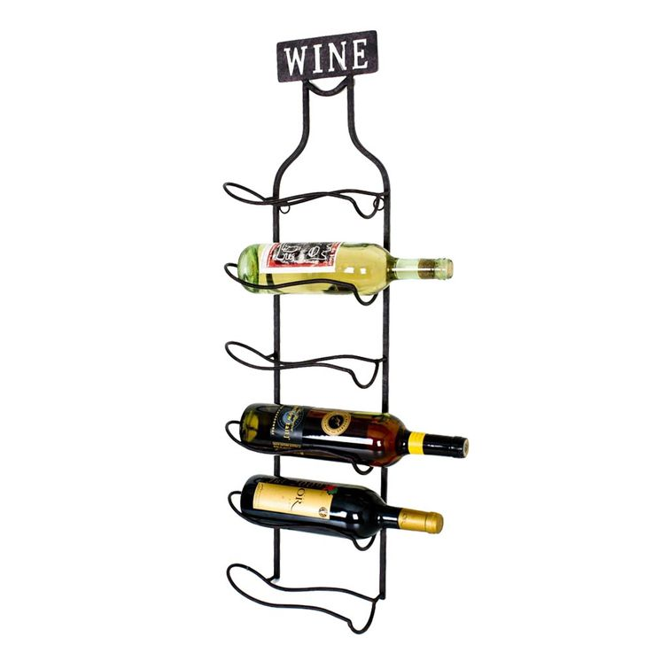 Wall shelf wine glass bottle holder dining room decoration black WINE font HARMS 504864 – Bild 1