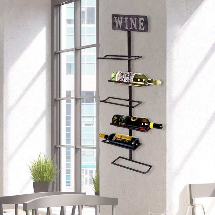 Design wine wall shelf 5x bottles hanging holder lettering wine rust colored HARMS 504865 – Bild 2