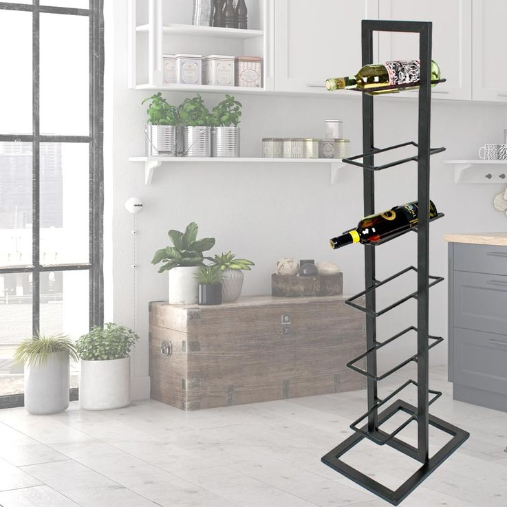 Elegant stand wine holder 6x bottles compartments storage system matte black HARMS 504866 – Bild 2
