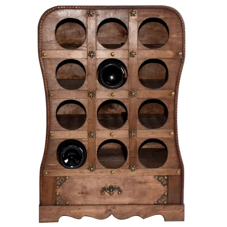 Design Wine Stand Stand Shelf 12x Bottle Storage Wood Drawer Rustic Brown Harms 304009 – Bild 3
