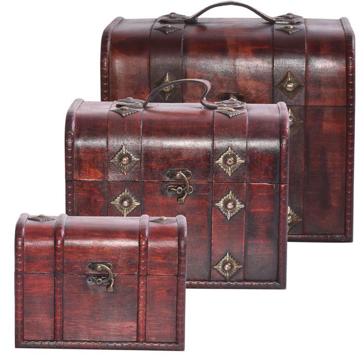3er Set Holz Schatz Truhen Aufbewahrung Dekoration Metall Beschlag Accessoires HARMS 314476 – Bild 1