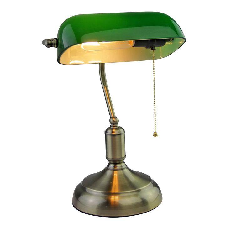 Vintage Schreib Tisch Lampe Arbeits Zimmer Banker Büro Leuchte Glas Schirm grün V-TAC 3912 – Bild 1