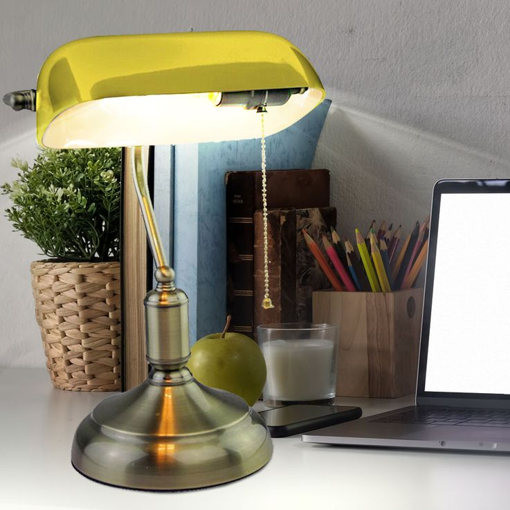 Retro writing table light working room banker office lampe glass shade yellow V-TAC – Bild 3