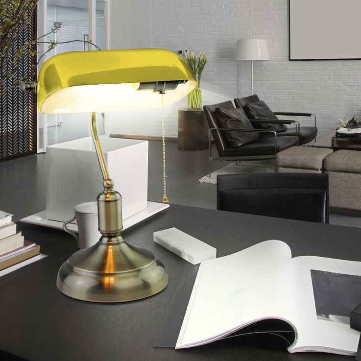 Retro writing table light working room banker office lampe glass shade yellow V-TAC – Bild 4