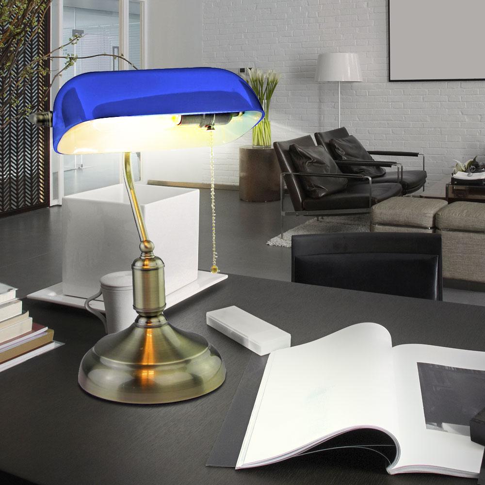 retro tischlampe mit blauem glasschirm f r ihr b ro vt 7151 lampen m bel innenleuchten. Black Bedroom Furniture Sets. Home Design Ideas
