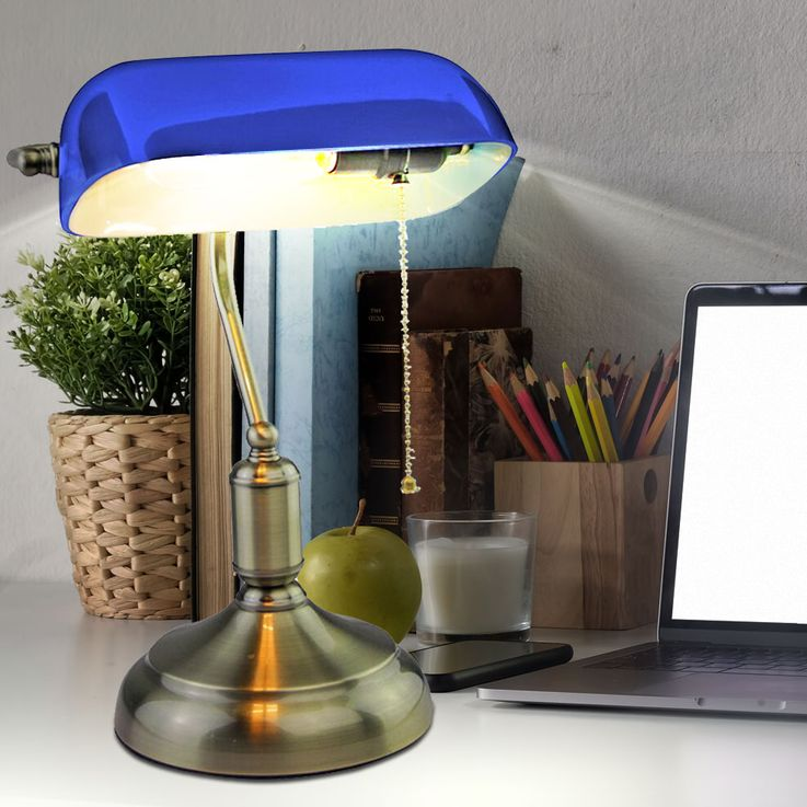 Side Table Reading Light Banke Working Room Office Glass Lamp Night Light Antique Blue V-TAC 3914 – Bild 3