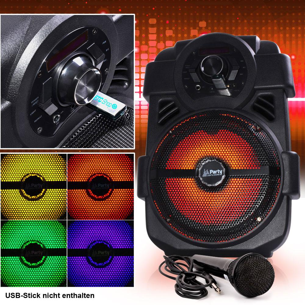 250W Mobile LED Musikanlage mit USB/Bluetooth und Mikro – Bild 2
