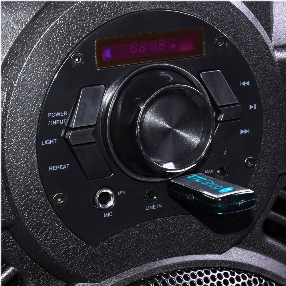250W Mobile LED Musikanlage mit USB/Bluetooth und Mikro – Bild 4