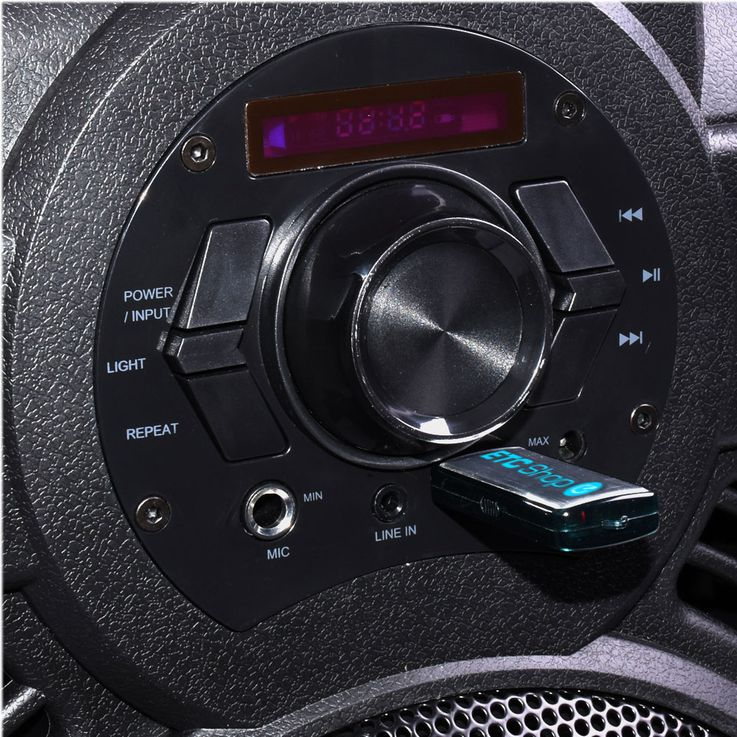 Portable 250 watt sound system Bluetooth radio MP3 USB port included in set including microphone – Bild 4