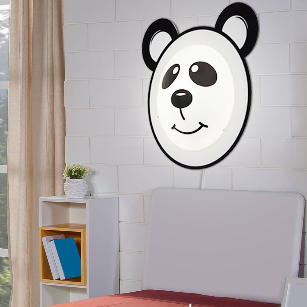 led wandlampe mit panda motiv f r das kinderzimmer pandino. Black Bedroom Furniture Sets. Home Design Ideas