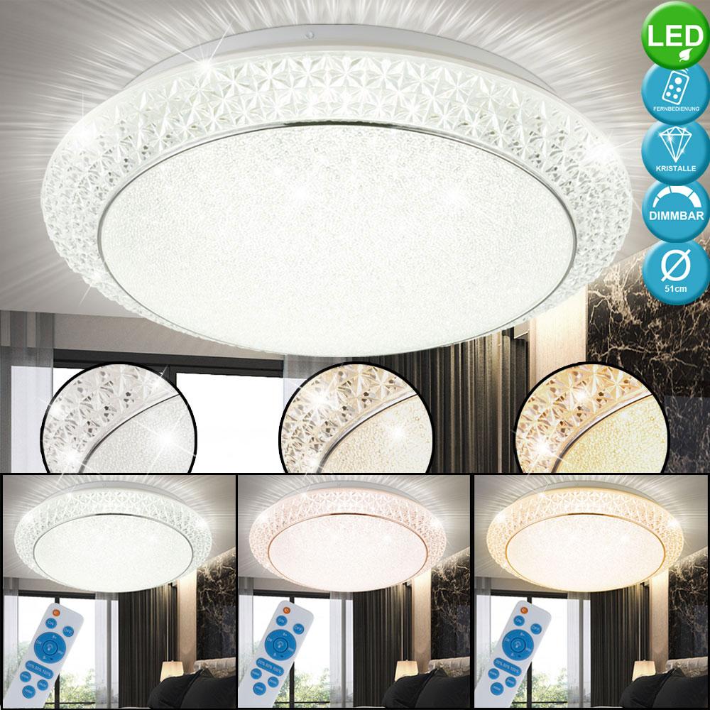 LED Kronleuchter dimmbar Wohn Zimmer Lüster Kristall Behang RGB Fernbedienung
