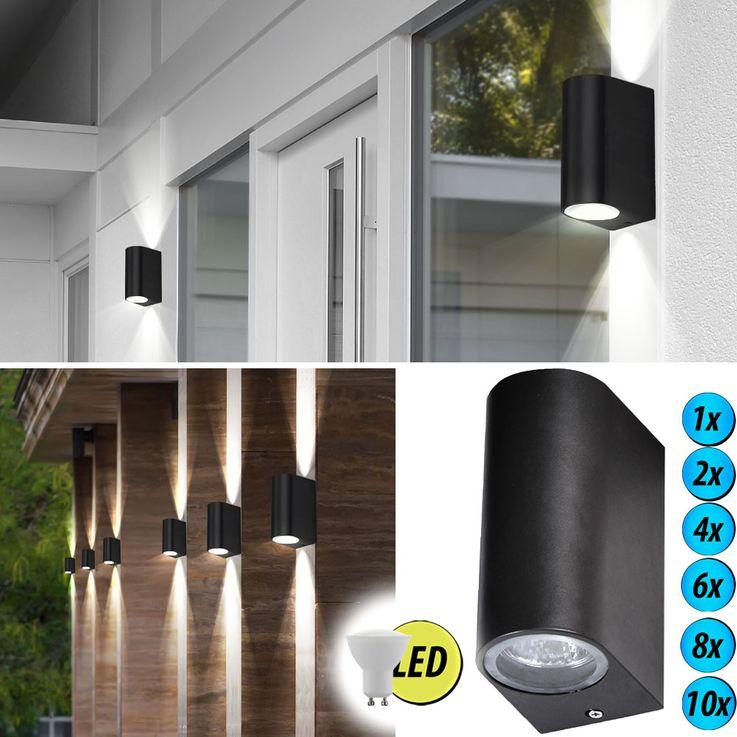 1-2-4-6-8-10x LED wall lights made of ALU in black – Bild 2