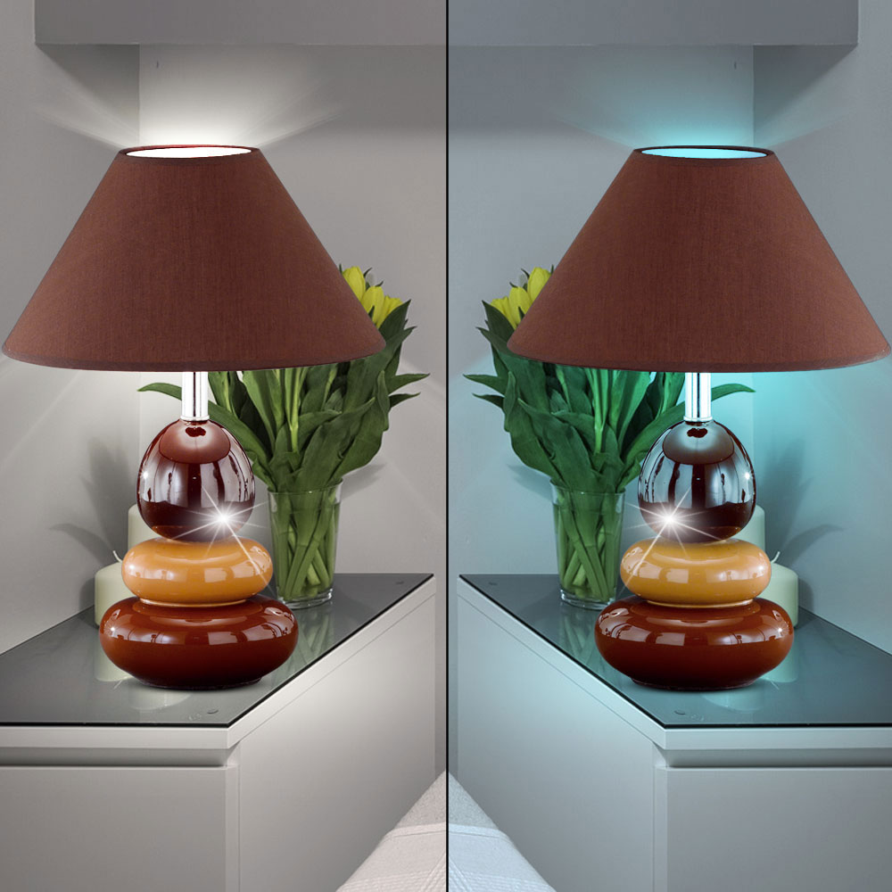 rgb led tischlampe aus keramik und textil mit schalter balon. Black Bedroom Furniture Sets. Home Design Ideas