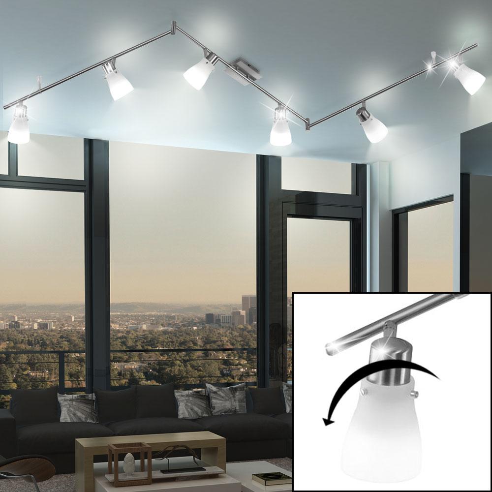 led decken lampe wohn ess schlaf zimmer balken strahler verstellbar glas spots ebay. Black Bedroom Furniture Sets. Home Design Ideas
