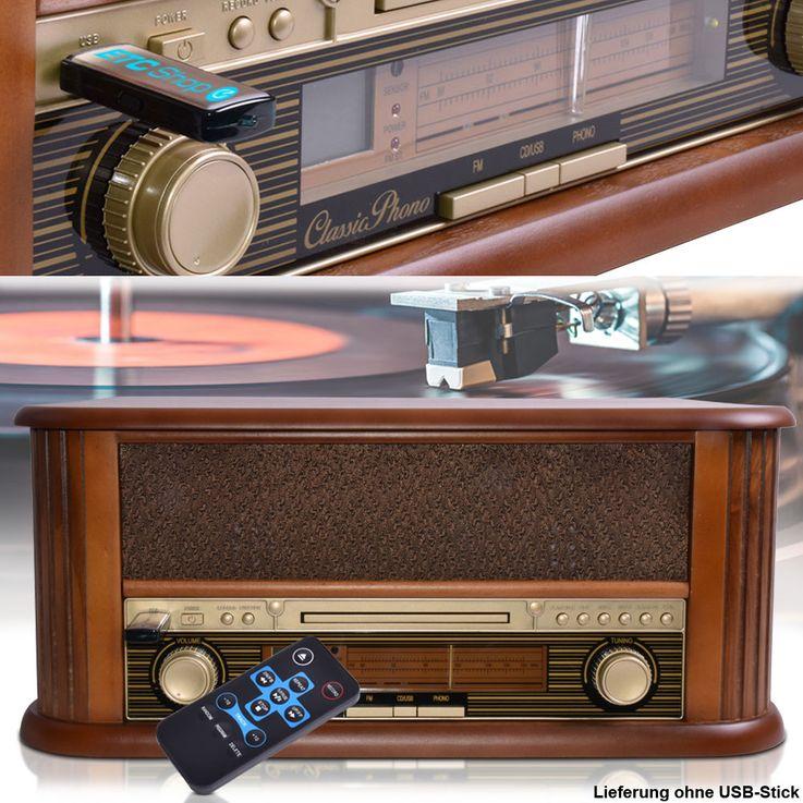 Vintage Schall Platten Spieler Holz CD Radio Lautsprecher USB MP3 Fernbedienung Lenco TCD-2500 – Bild 2