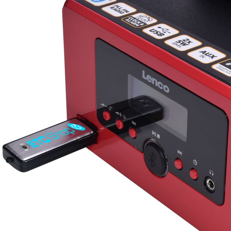 USB Player Radio Bluetooth Hifi Anlage Musik Spieler Alarm Uhr AUX IN LCD Display Lenco MC-020_red – Bild 4