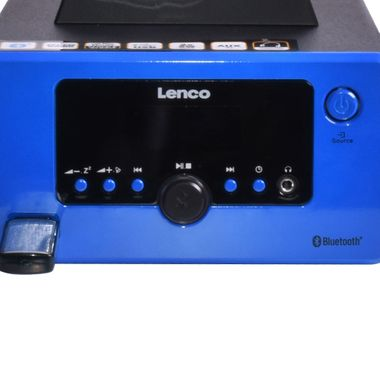 Design Stereo System Bluetooth Smartphone Bracket Radio Lighting USB AUX Lenco MC-020 blue – Bild 3