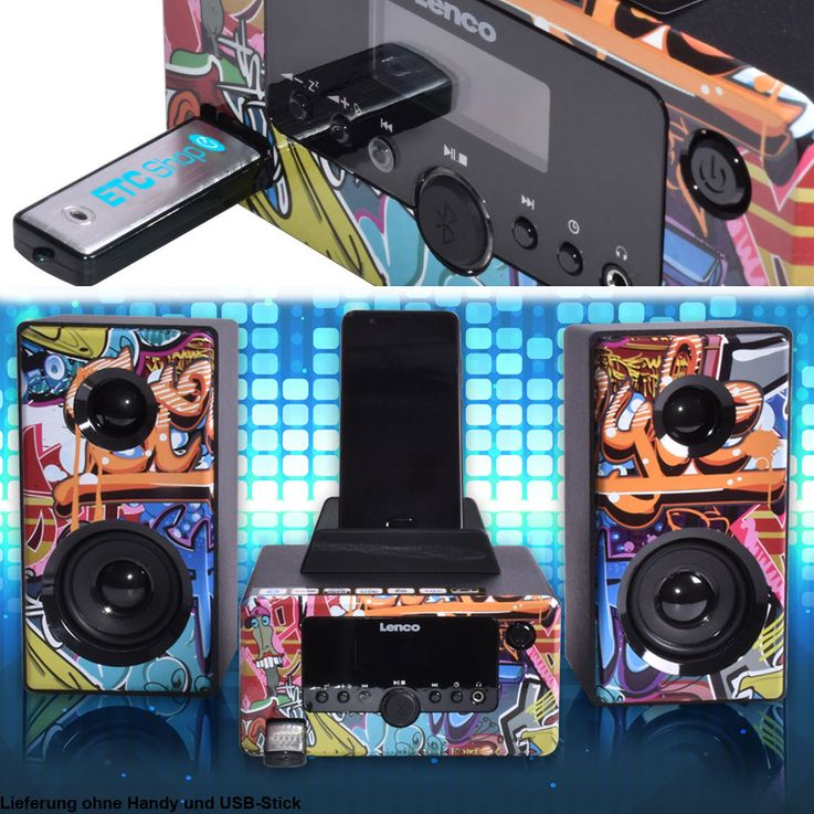 Design Stereo Anlage Bluetooth Smartphone Halterung Radio Beleuchtung USB AUX Lenco MC-020 tags – Bild 2