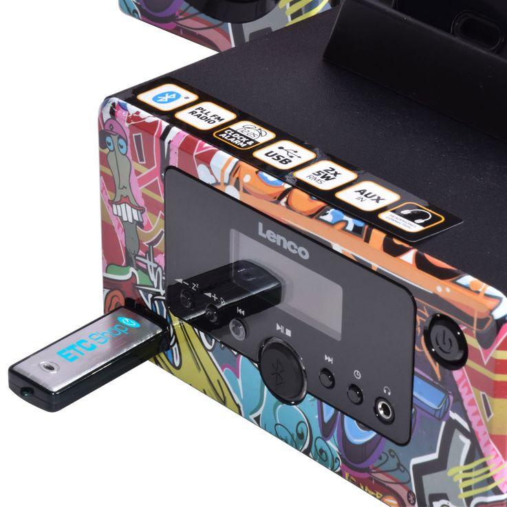 Design Stereo Anlage Bluetooth Smartphone Halterung Radio Beleuchtung USB AUX Lenco MC-020 tags – Bild 4
