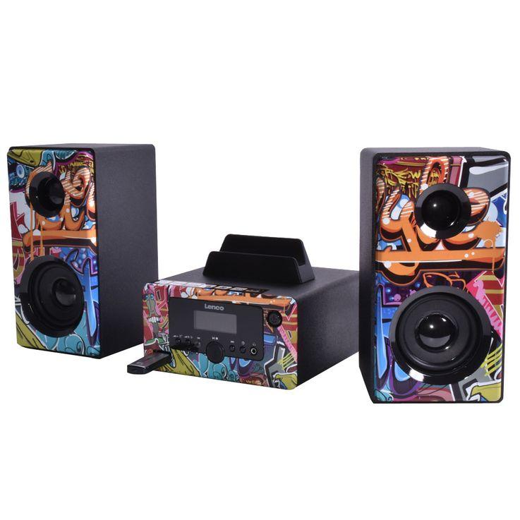 Design Stereo Anlage Bluetooth Smartphone Halterung Radio Beleuchtung USB AUX Lenco MC-020 tags – Bild 3