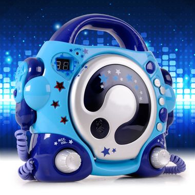 Children CD player Sing a long karaoke music system portable 2x microphones blue BigBen CD-47_blue – Bild 2