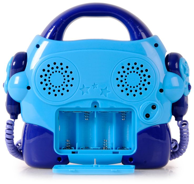 Children CD player Sing a long karaoke music system portable 2x microphones blue BigBen CD-47_blue – Bild 8