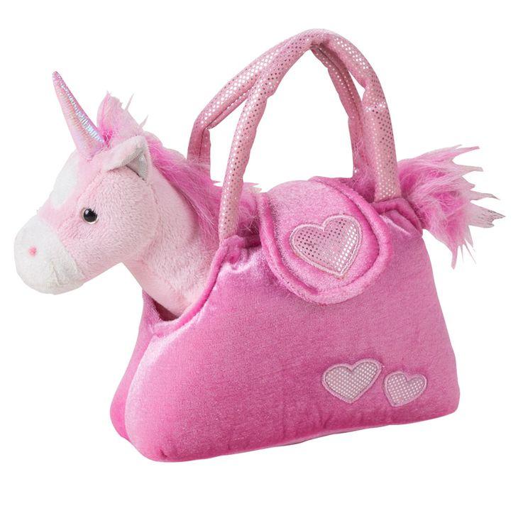 Einhorn Mädchen Stoff Tier pink Spiel Zeug Pferd Kinder Plüsch Kuschel Tier Tasche SMILE Aufdruck – Bild 1