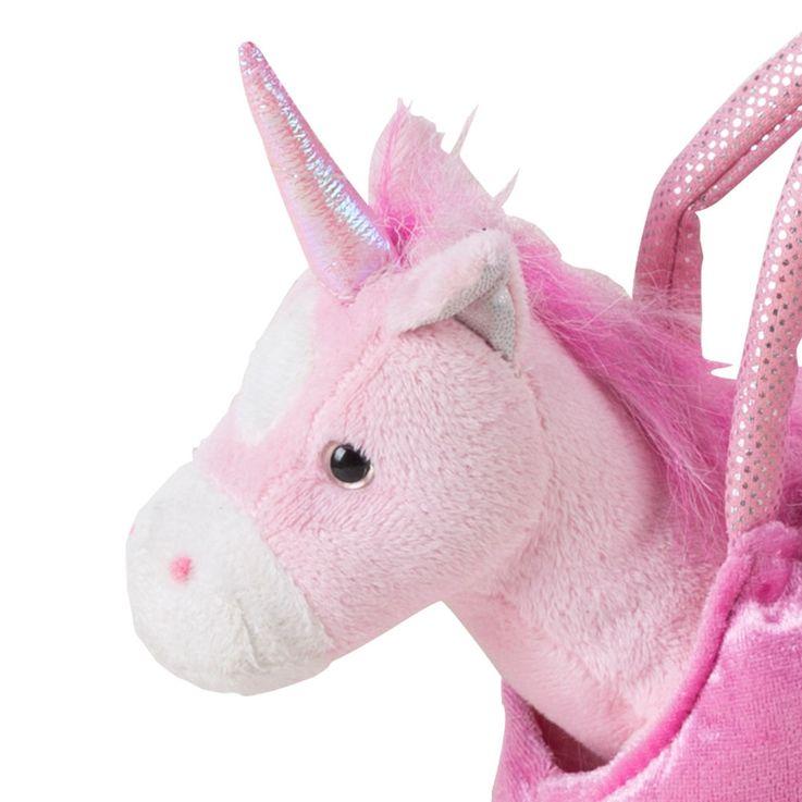 Einhorn in Tasche aus rosa- und pinkfarbenem Plüsch – Bild 4