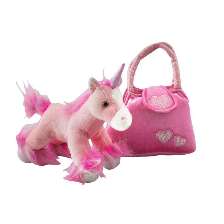Einhorn Mädchen Stoff Tier pink Spiel Zeug Pferd Kinder Plüsch Kuschel Tier Tasche SMILE Aufdruck – Bild 3