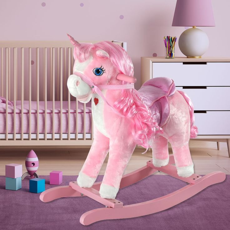 Childrens Room Nursery Unicorn Swing Horse Girl Toy Pink Sound Effect Rocking Horse – Bild 3