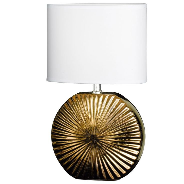 Textil Tisch Lampe Wohn Zimmer Lese Keramik Schalter Leuchte bronze weiß Honsel Leuchten 59272 – Bild 1