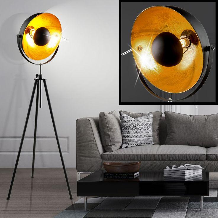 Höhenverstellbare RGB LED Stehleuchte in schwarz gold – Bild 4