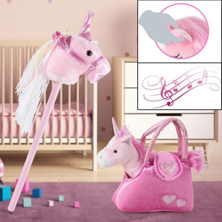 2er Set Stecken Pferd Mädchen Einhorn Kuschel Stoff Tier Sound Effekt Plüsch Tasche SMILE rosa – Bild 2