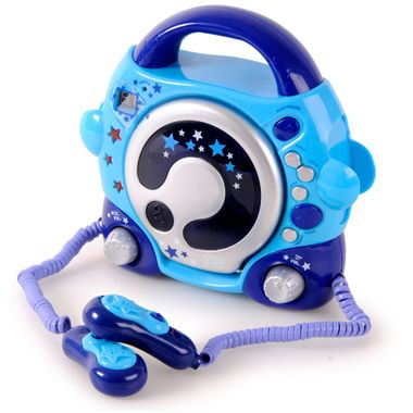 Portable Kids Karaoke CD Player 2 Microphones Sing a long Hifi Music System Blue with Power Adapter – Bild 4