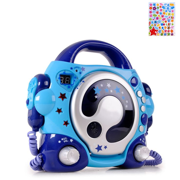 Karaoke CD Player 2x Microphone Kids Sing a Long Music Boombox System incl. Asterisk Sticker – Bild 1