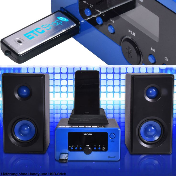 USB Player Radio Bluetooth Hifi Anlage Musik Spieler Alarm Uhr AUX IN LCD Display Lenco MC-020 – Bild 3
