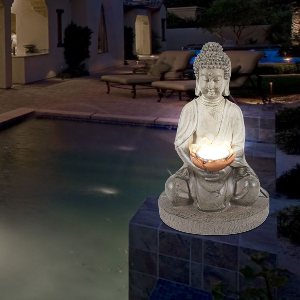 led buddha solarleuchten f r den au enbereich garten. Black Bedroom Furniture Sets. Home Design Ideas
