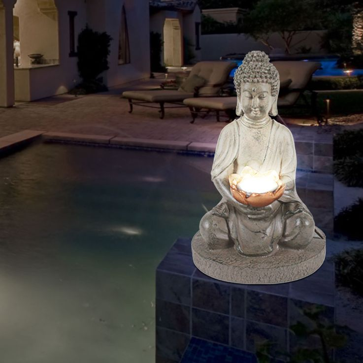 Design LED Solar Lights Outdoor Lighting Stand Stand Lamps IP44 Buddha Figures Sculptures – Bild 6