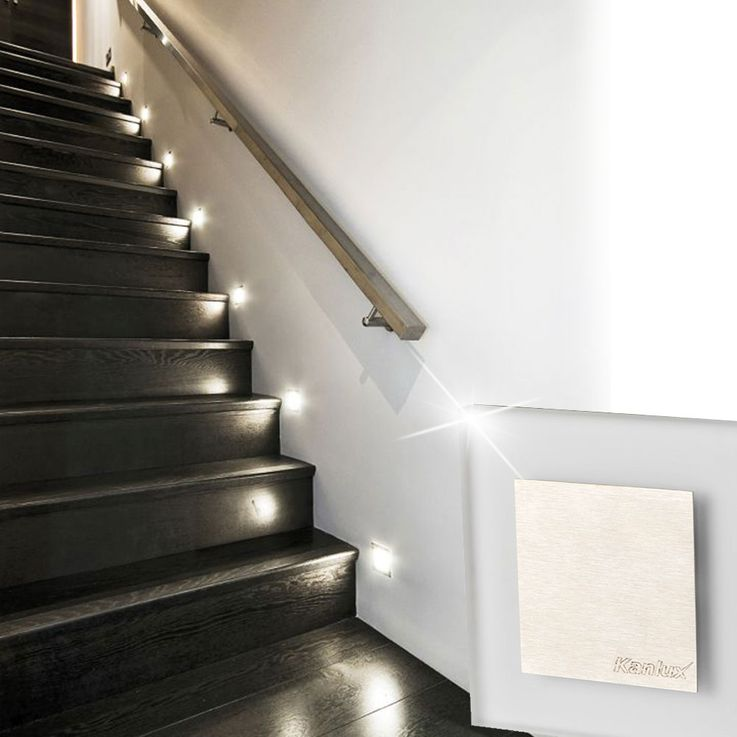 LED wall lamp stairs house steps lighting living room ornamental lamp brushed steel  Kanlux 23106 – Bild 6