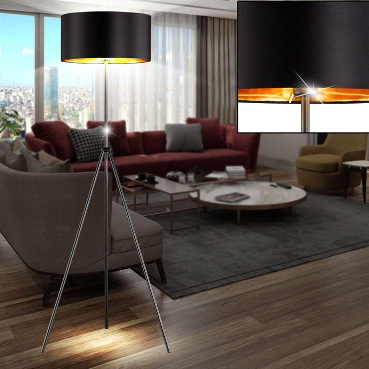 Textil Decken Fluter Wohn Zimmer Lese Beleuchtung Steh Lampe schwarz gold Trio Leuchten R40271032 – Bild 5