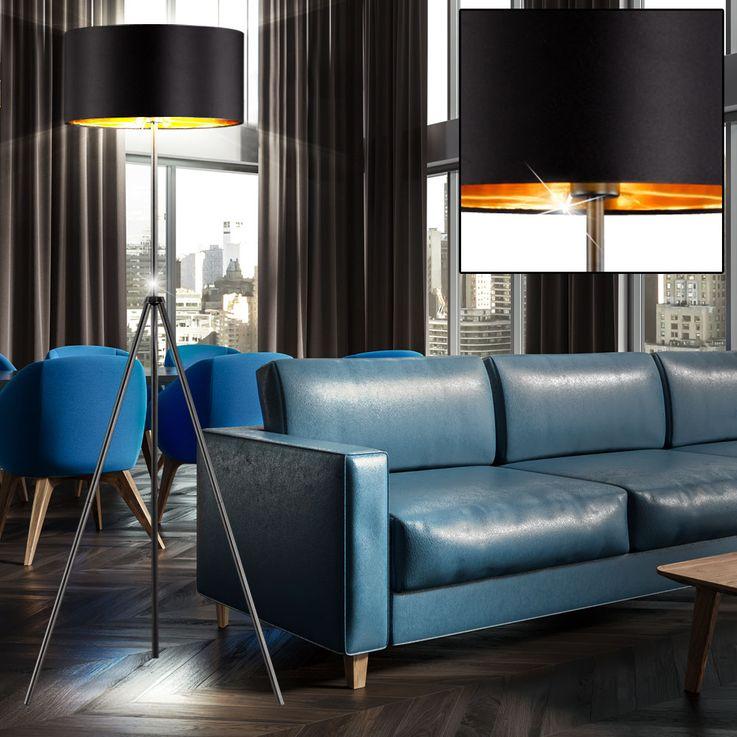 Textil Decken Fluter Wohn Zimmer Lese Beleuchtung Steh Lampe schwarz gold Trio Leuchten R40271032 – Bild 4