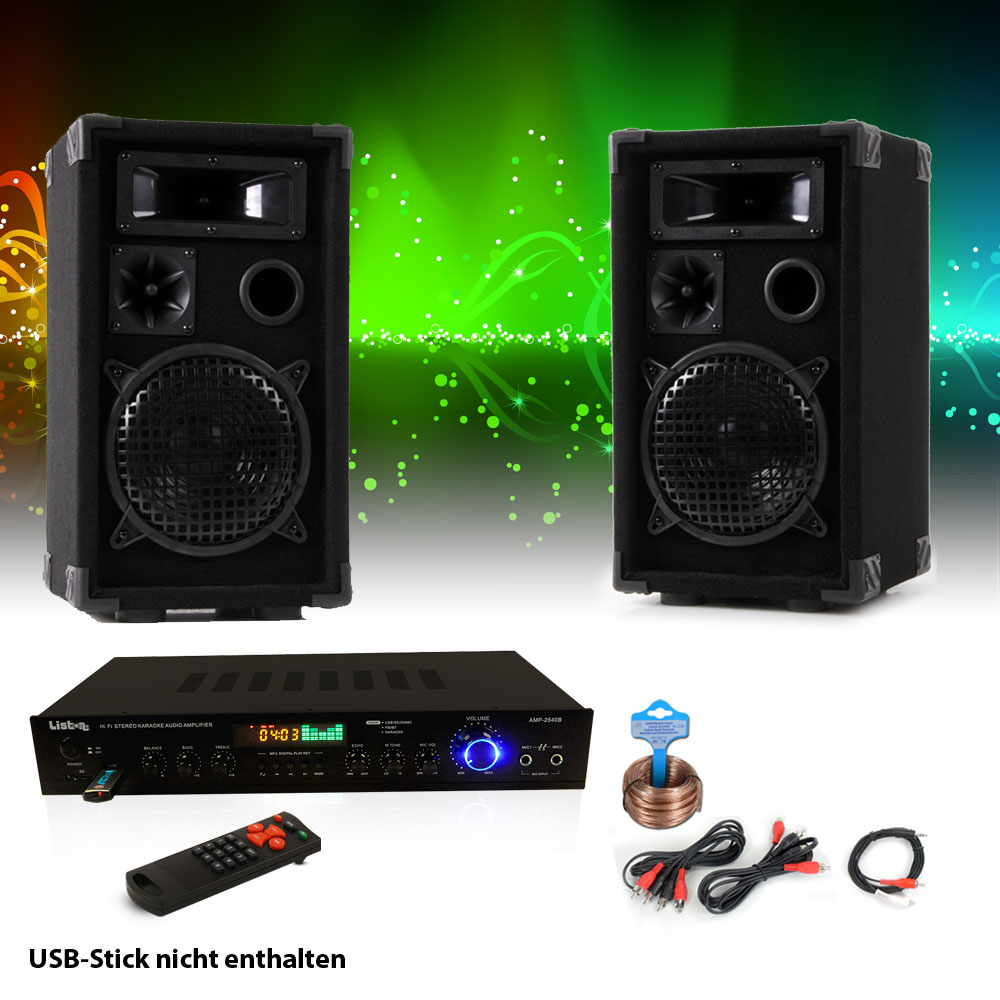 pa party musik anlage boxen usb sd mp3 bluetooth receiver verst rker radio tuner ebay. Black Bedroom Furniture Sets. Home Design Ideas