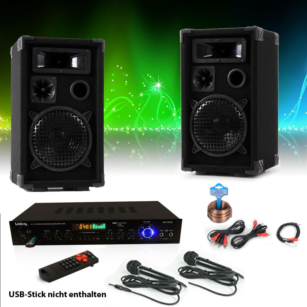 Kompakt PA Party Anlage Bluetooth USB Verstärker Fernbedienung Boxen Big Light
