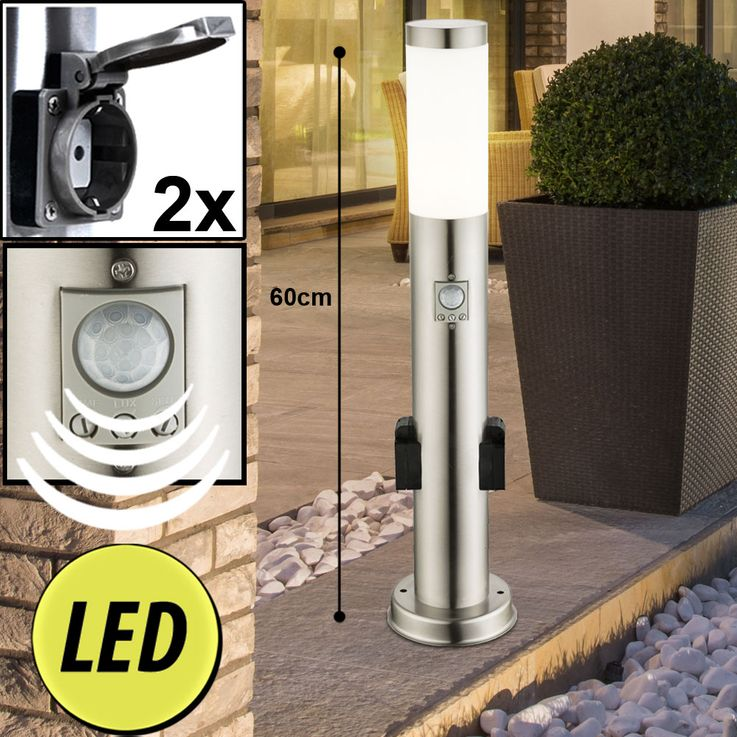 LED Outdoor Stand Lamps Stainless Steel Timer Plug Doses Post Movement Detector Garden Light Up Porch – Bild 18