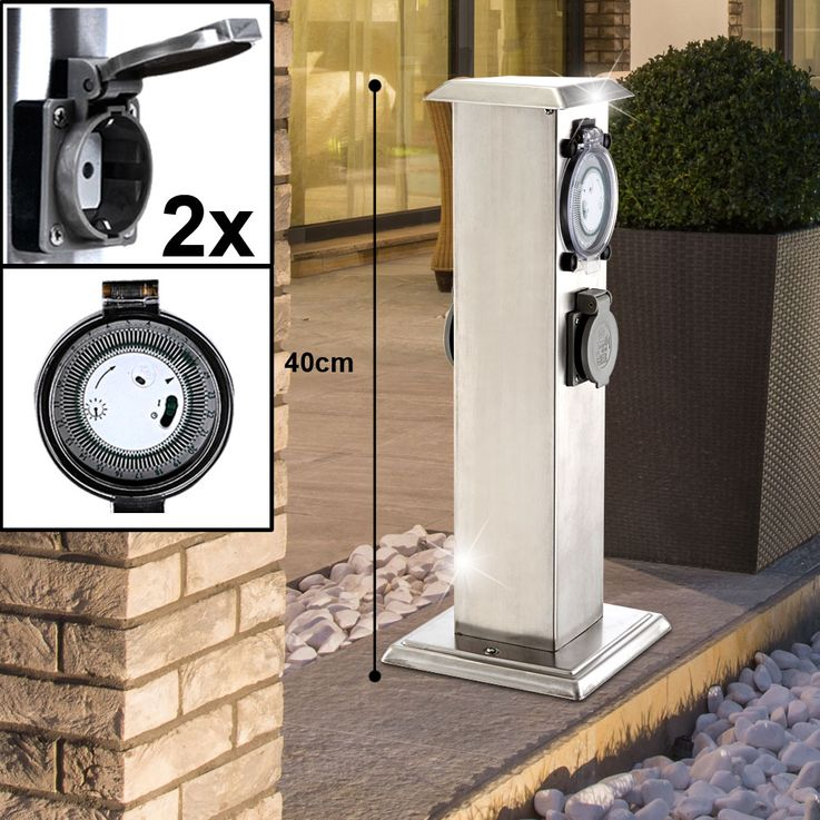 LED Outdoor Stand Lamps Stainless Steel Timer Plug Doses Post Movement Detector Garden Light Up Porch – Bild 6
