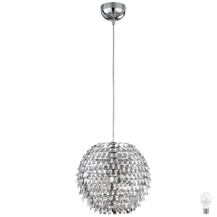 Chrome LED pendant light for the living room GLOBAL – Bild 1