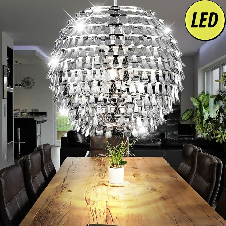 Chrome LED pendant light for the living room GLOBAL – Bild 2